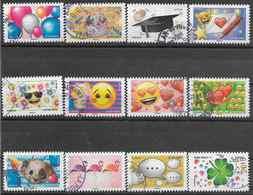 2018 FRANCE Adhésif 1558-69 Oblitérés,cachet Rond,  Emoji, Série Complète - Adhésifs (autocollants)