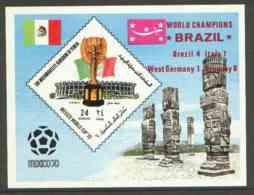 Yemen - Royalist 1970 World Cup Football SPORT 24b Value (diamond Shaped) Imperf M/s U/m Opt'd 'Brazil World Champions' - Yemen