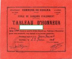 TABLEAU D'HONNEUR Ecole De Garçons D'Alembert ACADEMIE D'ALGER Commune De Guelma DEPARTEMENT DE BONE Algérie FEVRIER1962 - Diplômes & Bulletins Scolaires
