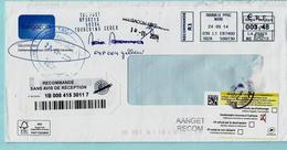 Omslag PB-PP Aangetekend 22/09/2014 TBC-POST + Frans Vignet RETOUR / INCONNU + ROUBAIX NORD 24/09/2014 - Postmark Collection