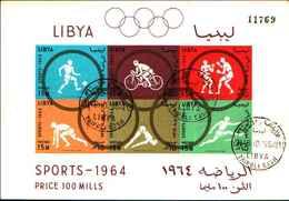 72502)  1964 LIBYA Kingdom FOLDER Nr.8199 SPORTS PRICE 100 MILLS-6 Stamps-g332-usato-non Dentellato - Libia