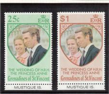 V9 - Saint Vincent Et Grenadines - 1 Et 2 ** MNH De 1973 - Mariage De La Princesse Anne. - St.Vincent & Grenadines