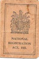 CARTE D'IDENTITE *NATIONAL REGISTRATION ACT  Loi Nationale D'Enregistrement BELGIUM UNITED KINGDOM Année 1915 - Documents Historiques