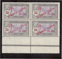 V9 - Indes Françaises - 209 ** MNH De 1943 - Surcharge FRANCE LIBRE - Bloc De 4 Bas De Feuille. - India (1892-1954)