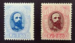 Norway 1878 Oscar II, Mi.33/34, Sc.#33/34  1kr 50ore Blue & 2kr Pink Unused Hinged. - Unused Stamps