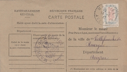 Cachet Perlé MARTIEL (Aveyron) Sur Timbre Ravitaillement - Ravitaillement Général - 1921-1960: Periodo Moderno