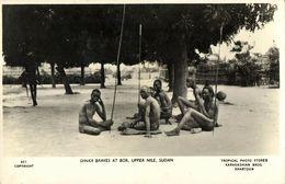 Sudan, BOR, Upper Nile, Armed Native Dinka Braves, Spears (1950s) Postcard - Sudan