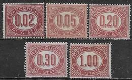 Italia Italy 1875 Regno Servizio Di Stato 5val Sa N.SE1-SE5 Nuovi MH * - 1861-78 Victor Emmanuel II