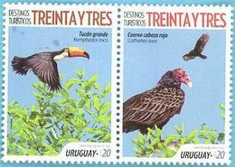 Uruguay 2018 ** SERIE Destinos Turisticos: Treinta Y Tres. Cuervo, Tucan. Paisajes. Puente - Aquile & Rapaci Diurni