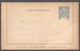 Entier  Carte-lettre  Groupe 15 Cent. Neuve - Nossi-Bé (1889-1901)
