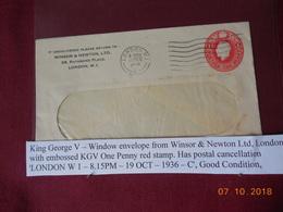 Lettre Entier Postal De 1936 Au Depart De Londres (avec Enveloppe A Guichet) - 1902-1951 (Kings)