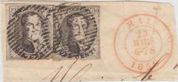 Médaillons -  Belles Marges - 2 X  Sur Fragment + Cachet Double Cercle - 1851-1857 Médaillons (6/8)