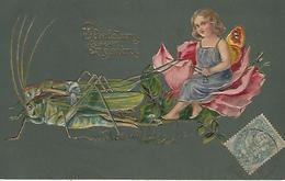 Carte Relief Sauterelle Attelée Tirant Ange - Anges