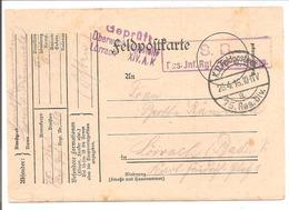 WO1 Feldpost. Zensur. Lörrach - 1. Weltkrieg