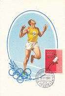 D35376 CARTE MAXIMUM CARD 1960 SAN MARINO - RUNNING ATHLETICS OLYMPICS - IMPERFORATED STAMP CP ORIGINAL - Athletics