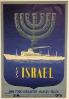 Navigation Postcard ZIM SS Israel New York-Gibraltar-Naples-Haifa - Reproduction - Advertising