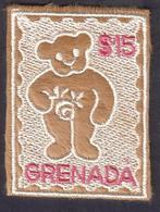 Grenada  2003 Teddy Bear - Embroidered Fabric Stamp - Unusual - Grenada (1974-...)