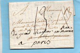 """Linéaire """"AIX"""",19mm,L.A.C. Du 30/5/1788 Pour ALBY Puis PARIS. - Postmark Collection (Covers)"""