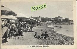 Lazio-roma-s.marinella Spiaggia Veduta Affollatissima Spiaggia Bagnanti Ombrelloni Riva Panoramica Animatissima Anni 40 - Italia