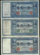 LOT DE 3 BILLETS DE 100 MARK . - [ 2] 1871-1918 : Duitse Rijk