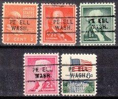USA Precancel Vorausentwertung Preo, Locals Washington, Pe Ell 729, 5 Diff. - Vereinigte Staaten