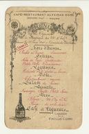 MENU CAFE RESTAURANT DU FAISAN DORE à TOURS / MUSIQUE Du 66è REGIMENT INFANTERIE - 21 JUIN 1914 - Menu