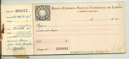 CHEQUIER BANCO ESPIRITO SANTO E COMERCIAL De LISBOA - JOAQUIM BALSA GARRAFEIRO - 1968 - Chèques & Chèques De Voyage