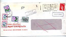 Lettre Flamme Wittenheim Fete Du Mineur +taxee Nagebuhr Fleur Wittenheim Kingersheim Retour Refusé - Mechanical Postmarks (Advertisement)