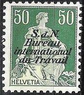 Schweiz Suisse 1942: Dienst IV S.d.N. Bureau Du Travail (BIT) Zu+Mi-Nr.8z (geriffelt - Grillé) **  MNH (Zu CHF 4.00) - Service