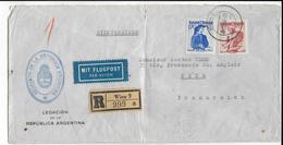 AUTRICHE / ARGENTINE - 1950 - ENVELOPPE RECOMMANDEE AVION De La LEGATION ARGENTINE à WIEN => NICE - Argentina