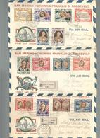 San Marino, 3.5.1947, Omaggio A F.D. Roosevelt, Serie Completa Su 3 Aerogrammi Posta Aerea Raccomandata. - FDC
