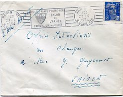 FRANCE LETTRE PAR AVION DEPART PARIS 23-6-1954 R. CLER POUR LE SUD VIETNAM - 1945-54 Marianne Of Gandon