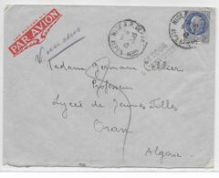 """1942 - PETAIN SEUL Sur ENVELOPPE Par AVION De NICE => ORAN (ALGERIE) """"INCONNU"""" => RETOUR à L'ENVOYEUR - Marcophilie (Lettres)"""