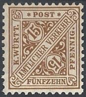 Württemberg, 1919 OFFICIAL 15pf Yel Brn, Wmk Crosses And Circles. # Michel 239 - Scott O125 - Yvert S64 MLH - Wurtemberg