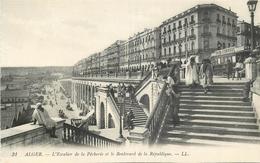 ALGERIE 143 CPA  ALGER L'escalier De La Pécherie Et Boulevard De La République    Belle Carte - Alger