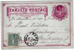 Entero Postal Concepción Chili Chile 1886 Hamburg Deutschland Postal Stationery Cristóbal Colón Christophe Colomb - Chili