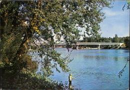 Grenade Pont Ondes Sur La Garonne Bridge  Man Fishing - France