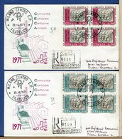 ITALIA - FDC  1971 - Raccomandate Con Timbro Arrivo - QUARTINA - CECA COMUNITA' EUROPEA CARBONE ACCIAIO - 1946-.. République