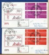 ITALIA - FDC  1971 - Raccomandate Con Timbro Arrivo - QUARTINA - EUROPA - 1946-.. République