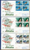 ITALIA - FDC  1971 - Raccomandate Con Timbro Arrivo - QUARTINA -  ALITALIA - 1946-.. République