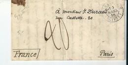 Lettre Précurseur Partie D'Alexandrie /Egypte Pour Paris Avec Taxe Manuscrite 20 , 1848 - Postmark Collection (Covers)