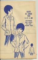 MODE ET TRAVAUX 1969 / PATRON - BLAZER EN LAINAGE Pour 6 Et 8 ANS - Patrons