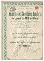 Action Ancienne - Recherches Et Exploitation Houillères Du Levant Du Midi De Mons - Titre De 1919 - N°00165 - Bergbau