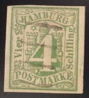 FOTOATTEST LANGE BPP: Hamburg 1859 4Sch. Mi. 5b SELTEN Gestempelt (Altdeutschland Hambourg Certificate Rare Rareté - Hamburg (Amburgo)