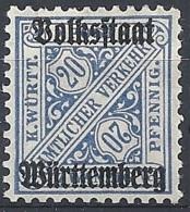 Württemberg, 1919 OFFICIAL Ovptd, 20pf Ultra # Michel 264 - Scott O156 - Yvert S106 MLH - Wurtemberg