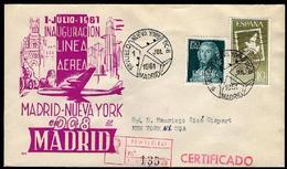 SOBRE Matasello Especial - 1961 - 1er. Vuelo Nueva York - Madrid En DC-8. MADRID - FDC