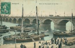 33 BORDEAUX / Quai De Bourgogne Et Le Pont / Carte Couleur Toilée / - Bordeaux