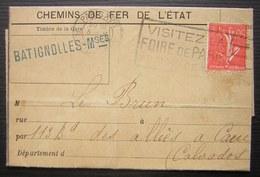Gare De Batignolles 1927 Avis De Souffrance, Voir Photos ! - Postmark Collection (Covers)