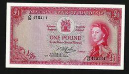 RHODESIA 1 POUND 1964 PICK# 25a XF+ AU - Rhodesia