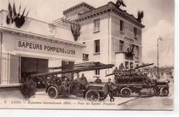 Lyon Animée Pompiers Sapeurs-Pompiers Exposition De 1914 Poste De Secours Camions - Otros